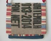 Coffee Sack Laptop Messenger Bag Upcycled Handmade in USA