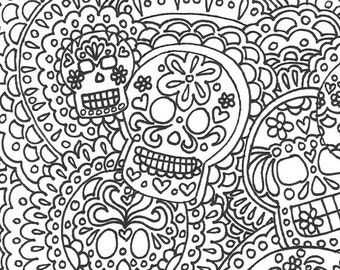 day of the dead sugar skull printable adult coloring page dia de los muertos adult - Day Of The Dead Coloring Book