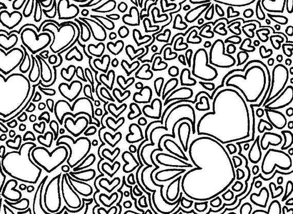 Coloring Pages For Adults Hearts : Abstract hearts printable adult coloring page
