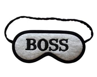 Best boss sleep mask, Men blindfold sleeping eye mask, Gift for nerd, Geek eyemask, Male office party, Funny sleepmask grey, Slogan graphic