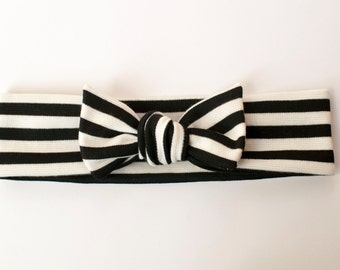 Black and White Stripe Jersey Knit Knotted Bow Headband/Headwrap Baby Toddler Child Adult