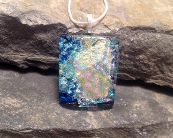 dichroic glass necklace, Dichroic Glass Pendant, Fused Glass Jewelry, handmade Dichroic glass Necklace, dichroic necklace