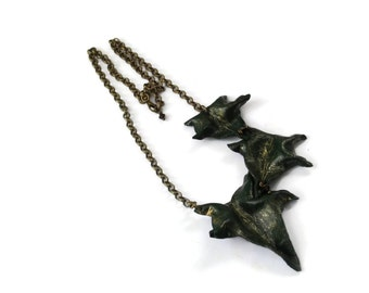 Ivy Leaf Asymmetric Leather Necklace - TRIO - Handcrafted leaves green bronze gold woodland wedding Etsy UK OOAK unique