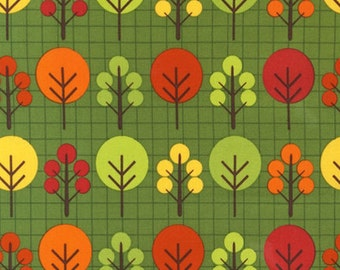 SALE - Fabric 1/2 yard - City Center Trees in Earth Robert Kaufman designer green yellow red olive orange autumn colorful grid