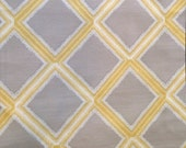 Custom Cream Curtains with Grey / Cream / Beige and Citrine Yellow in  Geometric Diamond Pattern One Panel with lining
