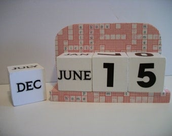 Coral Crossword Calendar Perpetual Block Calendar Wood Pale Orange Crossword Pattern