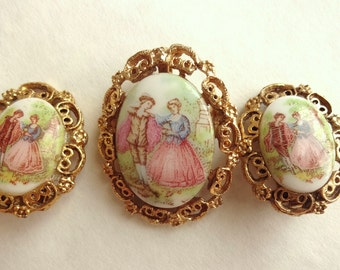 Courtship Pin & Earrigns Faux Limoges