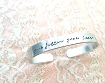 Follow your heart: bracelet cuff hand stamped