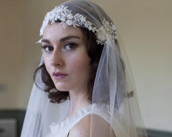 Dramatic Juliet Cap Veil with Beaded Floral lace ,Kate moss style veil, cathedral length veil,chapel length veil,ivory,white, champagne veil