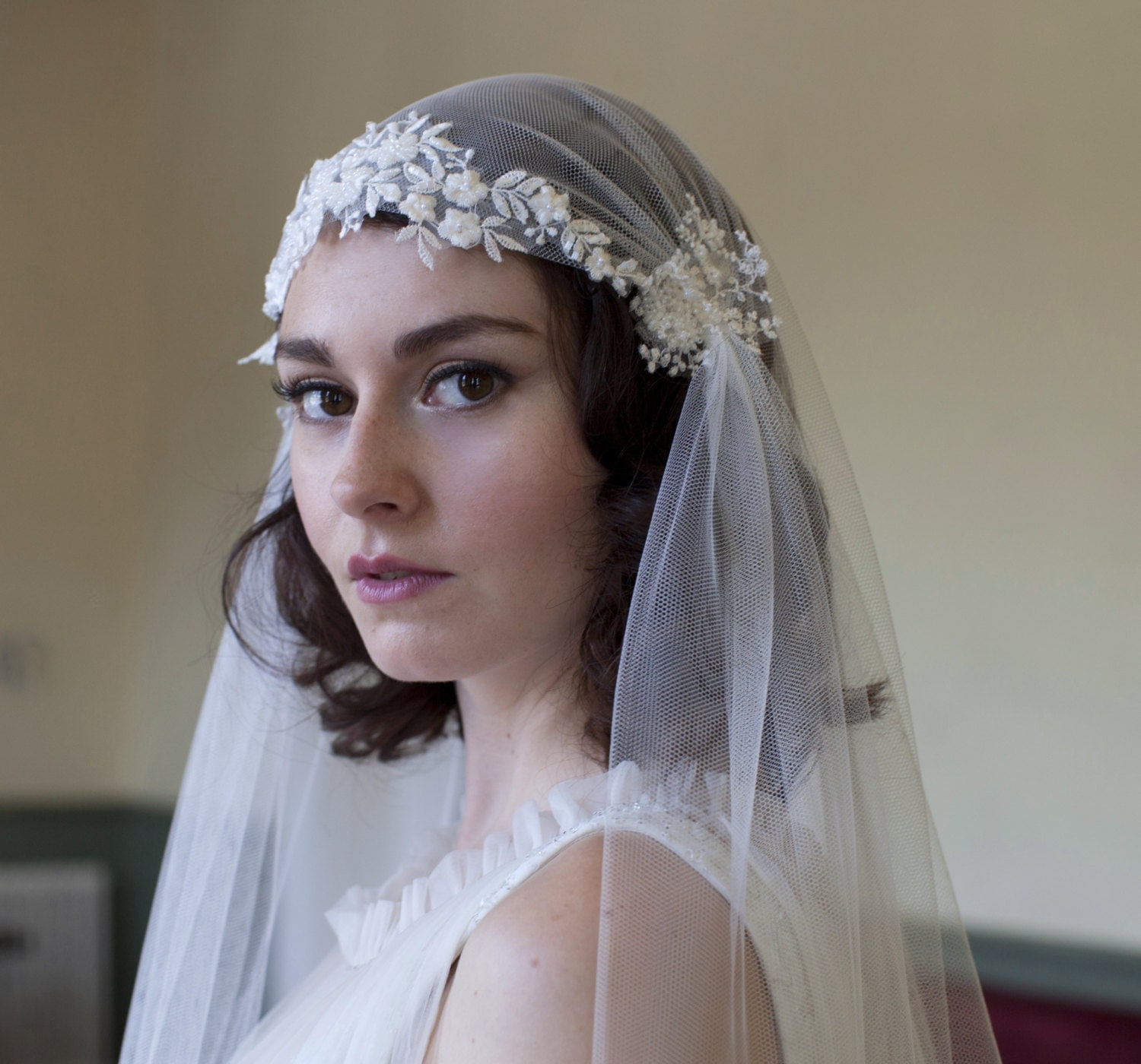 Dramatic Juliet Cap Veil With Beaded Floral Lace Kate Moss