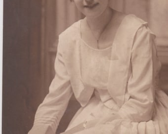 Vintage Photo - The Lady in White - Vintage Photograph (K)