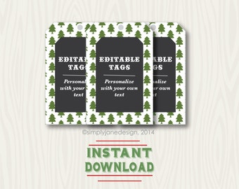 Editable Christmas Gift Tags, Chalkboard style, instant download, editable and changeable text, recipe tags, for mason jars, blank tags