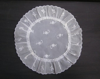 Vintage White Machine Embroidered Table Decor, Sheer Organza, Flower Motif, Round, Ruffled and Scalloped Edge