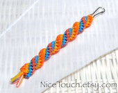 SPRING SALE!!! Free Shipping or Save 20% ~ Beach Ball woven waterproof gimp keychain ~ orange, yellow, and light blue ~ Made to Order