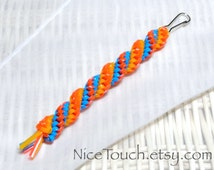 SUMMER SALE!!! Free Shipping or Save 20% ~ Beach Ball woven waterproof gimp keychain ~ orange, yellow, and light blue ~ Made to Order