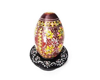 Handpainted Russian Wooden Egg on Stand