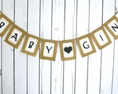Custom BABY SHOWER Banner Last NAME with Heart Gender Neutral Polka Dots Burlap Decoration
