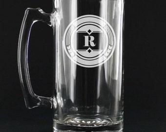6 Custom Engraved 27 ounce Groomsmen Beer Mugs - Bridal Party Gift