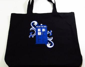 "TARDIS Police Box Black Canvas Shopping Tote 15""x18""x3"""