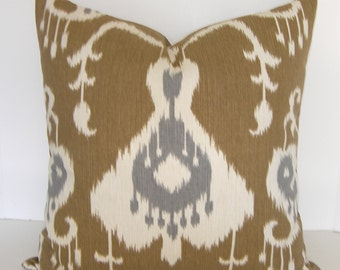 Java Ikat Umber - Cafe Au Lait  Pillow Cover - Square - Euro Sham - King - Standard Size - Tan - Ivory Steel Grey