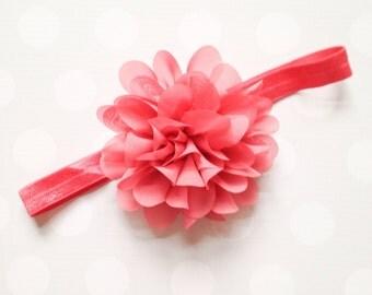 Coral Flower Puff Headband