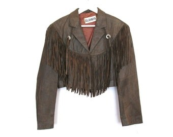 80's 90's Tan Leather Fringe Cropped Jacket size - M/L