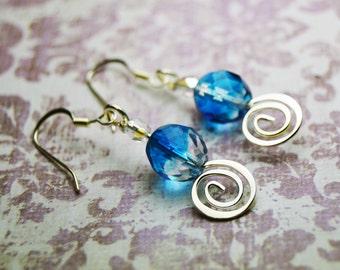 Fairy Blue Earrings - Sprial Fire Polished Glass Dangle Earrings