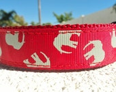 """Sale Dog Collar Gray Elephants 1"""" wide side release adjustable / no martingale very limited ribbon"""