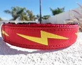 """Dog Collar Lightning Bolt Red, Quick Release or Martingale collar, 1"""" wide - see 3/4"""" Bolt collar"""