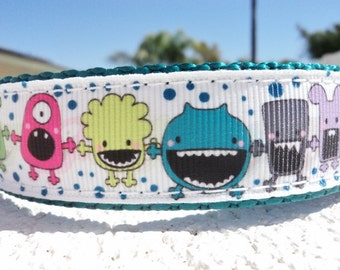 "Sale Dog Collar 1"" Side Release or Martingale collar Big Mouth Shadow Monsters S- XXL sizes"
