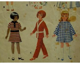 "Vintage 1960s Doll Clothes Pattern, Figure Dolls Wardrobe, PJs, Coat, Dresses, Robe, McCalls No. 2182 Size  Fits 16-21"" (41-51cm) Dolls"
