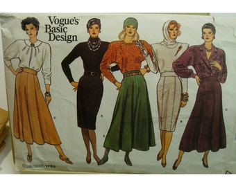 Gored Skirt Pattern, Fitted Pencil Skirt, Flared Skirt, High Waistband, 5 Styles - Vogue No. 1762 Size 6 8 10