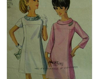 "1960s Ring Collar Dress Pattern, Front Yoke, A-line Skirt, Short/Bell Sleeves, Bias Collar, Simplicity No. 7355 Size 12.5 (Bust 33"" 84cm)"