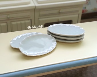 Miniature Porcelain Plates Petite Serving ware for 1/12 scale ~ 1/6 scale Dollhouse Fake Food Jewelry DIY Craft Supply
