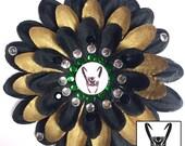 Loki Black and Gold Penny Blossom Rhinestone Flower Barrette