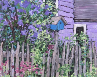 Acrylic Painting Art PRINT~Birdhouse,Lilacs,Spring,Purple,Lavender,Garden,Flowers