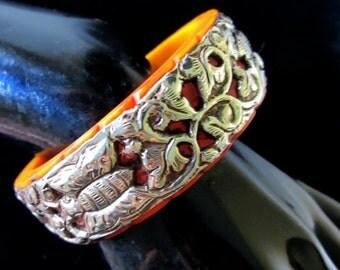 Fine Tibetan Silver Repousse Butterfly & Amber Casein Chunky Bangle Bracelet