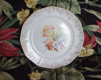 Vintage Royal China Flowers with Gold Shabby Chic Plate Marked