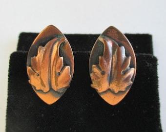 Solid Copper Earrings - Leaf Design, Vintage Screw Back