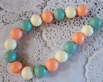Pastel Peach, Teal, Cream Gumball Acrylic Bubblegum Beads Strand
