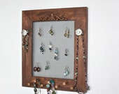 Jewelry Organizer for 35 pairs of Earrings, Pegs for Bracelets, Necklaces, Rings, Watches.