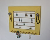 Jewelry Organizer Wood Frame Display in Yellow for Earrings, Bracelets and Necklaces.