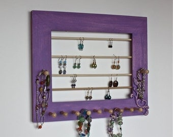 Jewelry Holder - Earrings Necklaces and Bracelets Organizer Painted Purple.