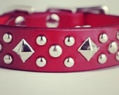 Valentine Dog Collar - Red Leather Dog Collar - 1 inch Wide Dog Collar for Small Dogs Adjustable - Studded Leather Collar Handmade Pet Gifts