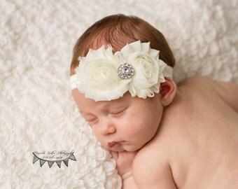 Baby Headband, Ivory Headband, Shabby Chic Headband, Newborn Headband,Infant Headband,Christening Headband,Baptism Headband,Vintage Headband