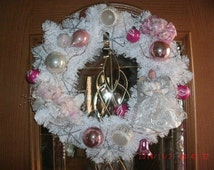 "Christmas Holiday white pine wreath 22"" Vintage pink bulb ornaments silver snow flakes Victorian"