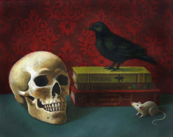 Gothic Skull and Raven Print - Spells and Potions - Spooky Halloween Art