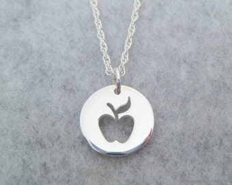 Teacher Gift - Sterling Silver Apple Pendant - Teacher Necklace