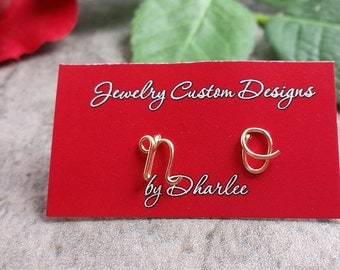 Uppercase Gold Filled Initial Stud Earrings, Tiny Studs, Capital Lettering