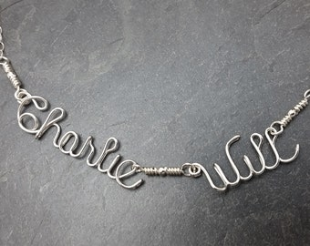 Sterling Silver Two Name Necklace, Wire Two word Necklace